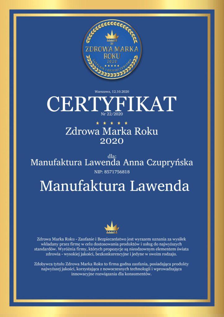 Zdrowa Marka Roku Certyfikat